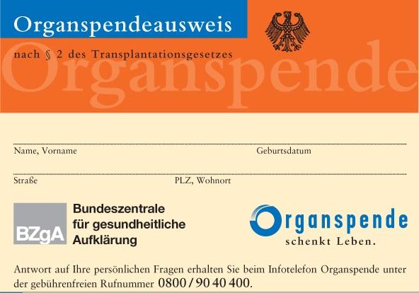 Organspendeausweise in Bürgerämtern